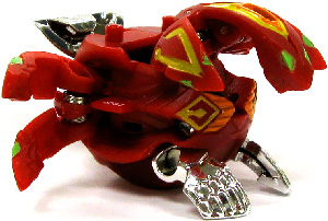 Bakugan Gundalian Invaders - BakuBoost - BakuMetalix - Pyrus(Red) Phosphos[Battle Gear Ready]
