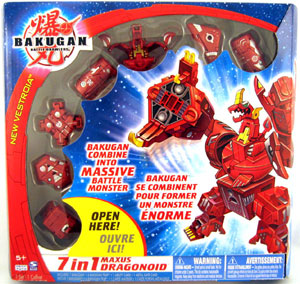 New Vestroia  Bakugan Pyrus Maxus Dragonoid 7 In 1 Combiner Exclusive