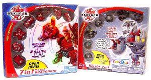 Bakugan 7 In 1 Combiner Exclusive: Haos Maxus Helios and Pyrus Maxus Dragonoid