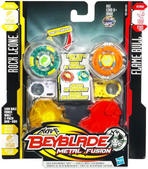 Beyblades Metal Fusion Battle Top - Rock Leone and Flame Bull