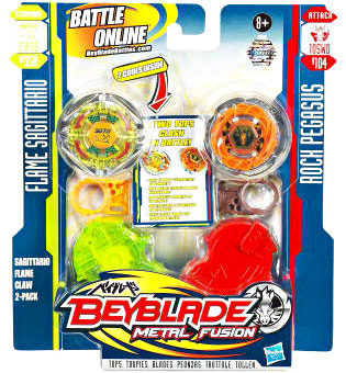 Beyblades Metal Fusion Battle Top - Flame Sagittario and Rock Pegasus