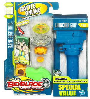 Beyblades Metal Fusion Battle Top - Value Pack Flame Sagittario and Launcher Grip