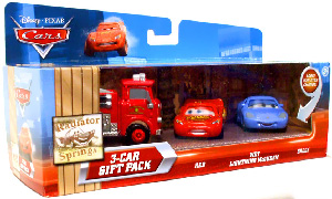 Disney Cars Lenticular - 3-Car Gift Pack - Red, Wet Lightning McQueen, Sally