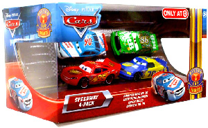 Piston Cup Nights - Speedway 4-Pack: Bumpber Save, Lightning McQueen, Chick Hicks, Gasprin