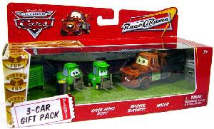 World Of Cars - 3-Car Gift Pack Boxed - Chick Hicks Pitty, Bruiser Bukowski, Mater