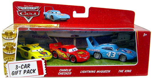 World Of Cars - 3-Car Gift Pack Boxed - Charlie Checker, Lightning McQueen, The King