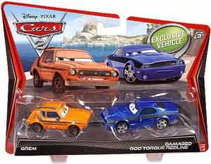 Cars 2 Movie - 2-Pack - Grem and Damaged Rod Torque Redline