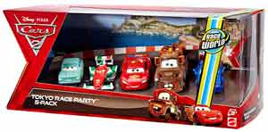 Cars 2 Movie - Tokyo Race Party 5-Pack - A Trunkov, Francesco Bernoulli, Lightning McQueen, Wasabi Mater, Rod Torque Redline