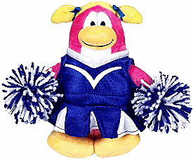 Club Penguin Plush - Cheerleader Blue Outfit - With Coin