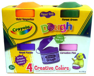 Crayola Dough Creative Colors - Wild Tangerine, Forest Green, Royal Purple, and Coranation Pink