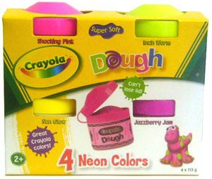 Crayola Dough Neon Colors - Shocking Pink, Inch Worm, Sun Glow, and Jazzberry Jam