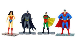 DC Comics - Set of 4 Interlocking PVC Figures - Batman Robin Wonder Woman & Superman.