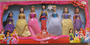 Disney Princess Shimmer Princess Dolls Giftset [Cinderella, Belle, Sleeping Beauty, Ariel, Snow White, Jasmine, and Mulan]