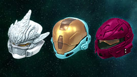 Halo 3 Helmets Set 2 - Hayabusa (White), EVA (Cyan), Rogue (Crimson)