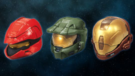 Halo 3 Helmets - Scout (red), Master Chief, EVA (brown)