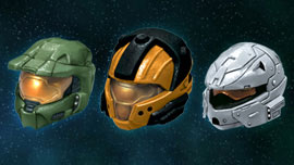 Halo 3 Helmets Set 3 - Silver Rogue, Master Chief, Orange CQB