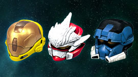 Halo 3 Helmets Set 4 - EVA (Yellow), Hayabusa (Red), EOD (Blue)