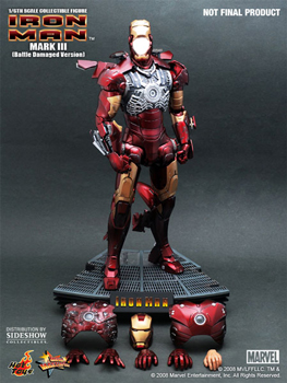 Hot Toys Iron Man 12-Inch 1/6th Scale Iron Man Mark III Battle Damaged Version
