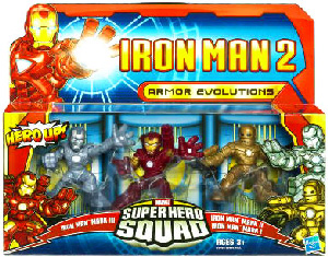 Iron Man 2 Super Hero Squad: Armor Evolutions - Iron Man Mark I, Iron Man Mark II and Hot Zone