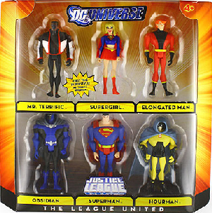 DC Universe - Justice League Unlimited - The League United [Mr Terrific, Obsidian, Superman, Supergirl, Elongated Man, Hourman]
