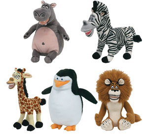 TY Beanie Babies - MADAGASCAR 2 MOVIE BEANIES  Set of 5