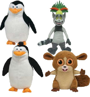 The Penguins of Madagascar 6-Inch Beanie: Set of 4 [Skipper, Rico, Mort, King Julien]