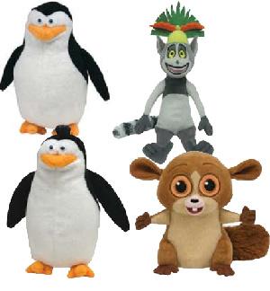 The Penguins of Madagascar 6-Inch Beanie: Set of 4 [Skipper, Rico, Mort, King Julien]