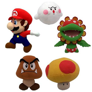 6-Inch Nitendo Mario Plush Set of 5