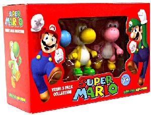 4-Inch Super Mario PVC Vinyl - Yoshi 3-Pack[Blue, Yellow, Pink]