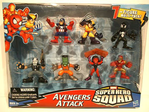 Super Hero Squad - 7-Pack Exclusive  Avengers Attack - Wolverine, Black Costume Spider-Man, Red She-Hulk, Leader, Captain Americ