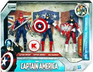 Captain America First Avengers - 3-Pack The International Patriots - Captain Britain, Captain America, Red Guardian