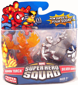 Super Hero Squad - Clear Human Torch and Silver Surfer