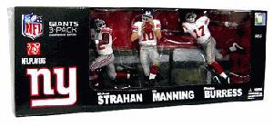 NFL 3-PACK: New York Giants Super Bowl Strahan, Eli Manning, Plaxico Burress