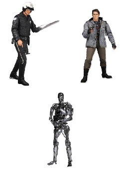 NECA Terminator (2011) Series 1 Set of 3 - T-800, T-1000, T-800 Endoskeleton