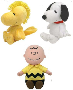 Charlie Brown 6-Inch Beanie  - Set of 3[Charlie Brown, Snoopy, Woodstock]