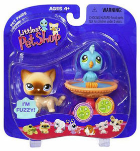 Littlest Pet Shop - Cat and Blue Bird in Birdbath