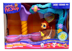Littlest Pet Shop Figures Playset Twirlaround Treehouse with Monkey