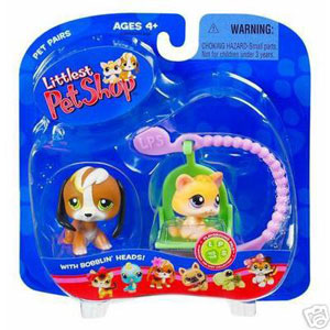 Littlest Pet Shop - Kitten and Beagle on Skateboard