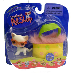 Littlest Pet Shop - White Cat with Sunglasses and Carry Case