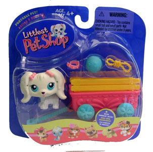 Littlest Pet Shop - White Dog and Wagon
