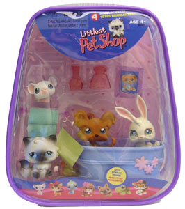 Littlest Pet Shop - Bunny, Mouse, Dog, Cat, and Bathtub