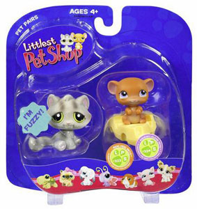Littlest Pet Shop - Grey Cat and Mouse on Cheese