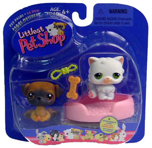 Littlest Pet Shop - Persian Cat and Pug Dog