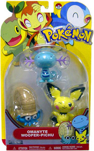 Pokemon Basic 3-Pack - Omanyte, Wooper, Pichu