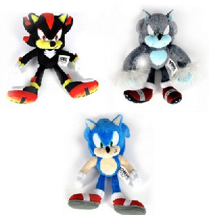Sonic The Hedgehog 7-Inch Soft Figure Plush - Set of 3[Sonic,Werehog,Shadow]
