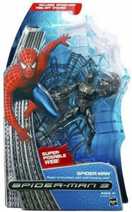 Black Costume Spider-Man - Super-Articulated With Wall-Hanging Web