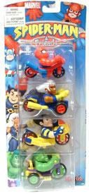 Race Car Buddies: Wolverine, Storm, Spiderman, and Hulk