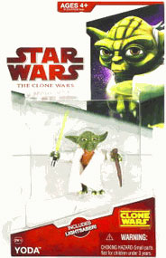 Clone Wars 2008 - Red Card - Yoda with Lightsaber
