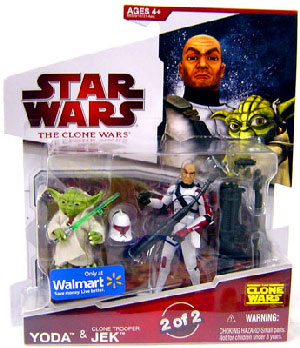Clone Wars 2009 - Red Card - Yoda and Clone Trooper Jek