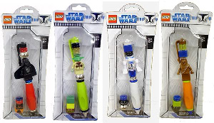 LEGO Star Wars - CLONE WARS LEGO PEN 4 PACK[Darth Vader, Yoda, R2-D2, Chewbacca]